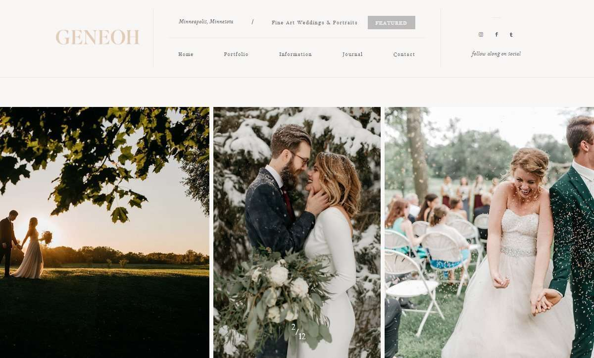 Website Screenshot - Geneoh Photography - Minneapolis Fine Art Wedding and Portrait Photography