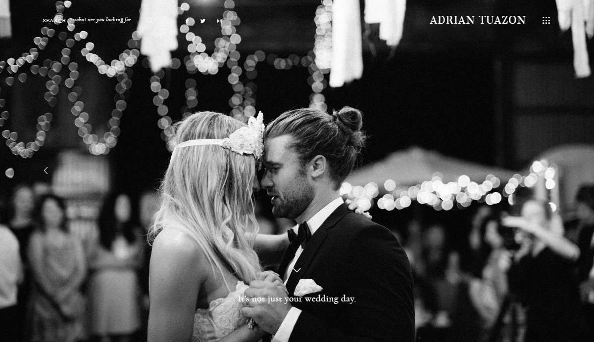 Website Screenshot - Adrian Tuazon - Fine art wedding photographer in Melbourne, Australia