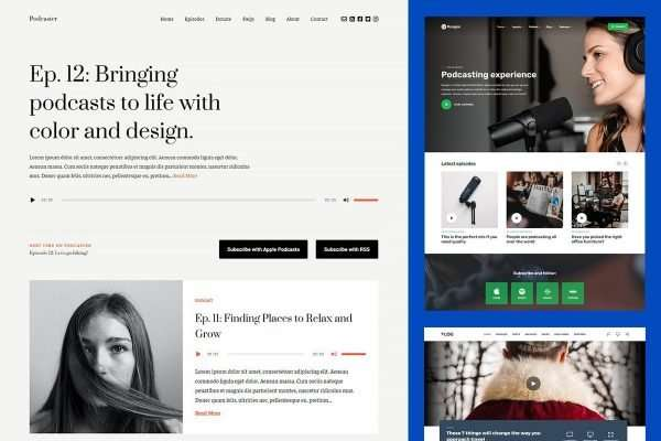 Popular WordPress Themes for Podcasters and Videobloggers in 2021